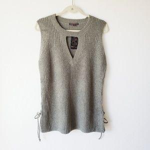 NWT Lace up Sleeveless Sweater